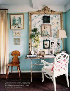 cute bulletin board idea for desk area in family room