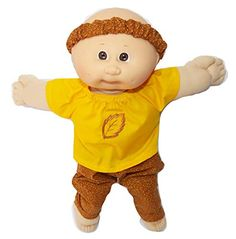 Cabbage Patch Doll Clothes Fits 16 Inch Girl Size Brown Fall Leaf Dress and Headband Clothes Only