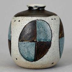 Anders Bruno Liljefors; Glazed Earthenware Vase for Gustavsberg, 1952.
