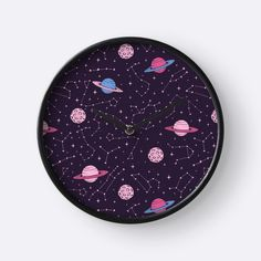 """Constellations and Planets Pattern"" Clocks by Anastasia Shemetova 