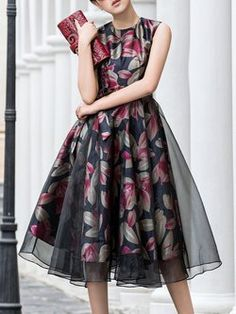 Dresses,Midi Dresses,Elegant Paneled Sleeveless Floral Midi Dress with Belt,so&soefom,Multicolor Dresses Elegant, Fall Dresses, Vintage Dresses, Formal Dresses, Floral Midi Dress, Chiffon Dress, Midi Dresses, Dress Paterns, Batik Dress