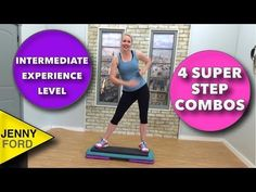 Super Sweaty Step Aerobics At Home Workout with Four Combos (Intermediate) fitness Unexected Step- S Step Aerobic Workout, Step Up Workout, Aerobics Workout, Cycling For Beginners, Workout For Beginners, Jenny Ford, Fun Workouts, At Home Workouts, Body Workouts