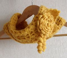 Crochet Cowl Infinity Scarf  Neckwarmer  with Detachable Flower Brooch
