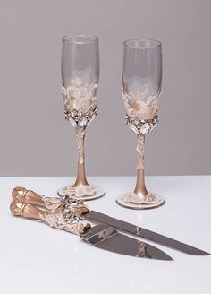 Champagne Wedding Cake Server Set Wedding Cake Knife Knife Cake Cutting Set Cake Servers Wedding Champagne crystal Cake Server rustic knife set of 2 See other wedding decor in this style: