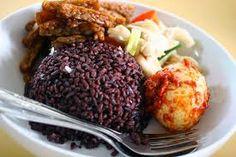 black rice west java sambal telor,sambal tempe,sauteed mushrooms....