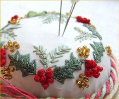 Holly and Mistletoe Christmas pincushion Pattern and Print kit. $14.95, via Etsy.