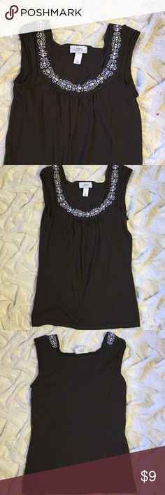 LOFT top with wooden bead detail This sleeveless top by Loft has wooden bead & embroidered trim at the neckline in the front. Deep brown chocolate color. Looks great on its own or paired with a cardigan.. Perfect for fall! Only worn once so is in excellent condition; nonsmoking home. All tops $10 or less are BOGO, so stock up & save! 😊 LOFT Tops