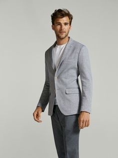 Jackets and waistcoats - men - massimo dutti men formal, formal wear, knit blazer Casual Trends, Men Casual, Casual Outfits, Men Formal, Formal Wear, Waistcoat Men, Fashion Displays, Healthy Style, Summer Suits