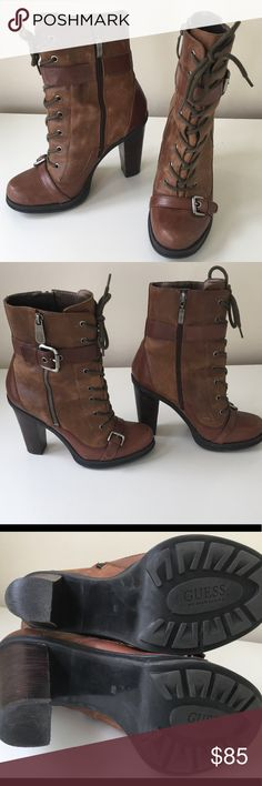 "GUESS brown 4"" booties Great condition, look at the soles. Really cute 4"" booties with decorative zipper and lace up ties. Side zipper to slip them on. Actually really comfortable but too high for me now. No trades please. Happy Poshing everyone 😘😘 Guess Shoes Ankle Boots & Booties"