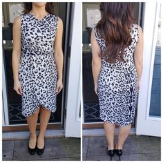 "SALEBlack & White animal print wrap dress FINAL SALE. ASK ANY QUESTIONS BEFORE PURCHASINGSexy and stylish animal print wrap dress. Flattering and comfy. Dress up or down. Faux wrap silhouette. Lightly gathered at waist. Surplus neckline. Polyester/spandex blend. Length hits at knee. 31"" long in front 37"" long in back. SMALL: bust 34"" MEDIUM: 36"" bust CupofTea Dresses"