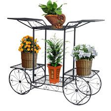 Four-Wheeler Metal Flower Pot Plant Stand Wedding Love Garden Yard Indoor Decor