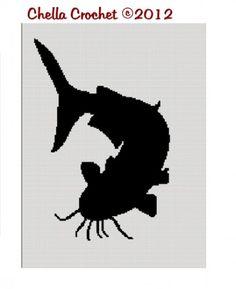 Catfish Flathead Fishing Silhouette Afghan Crochet Pattern Graph