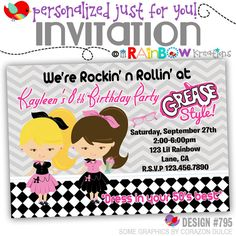 795: DIY  1950's Grease Style Party Invitation by LilRbwKreations