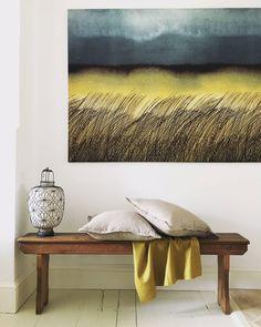 Marimekko Kuuskajaskari fabric on wall with linen cushions from my Etsy shop https://www.etsy.com/uk/listing/535745785/cushion-cover-in-taupe-linen-twill