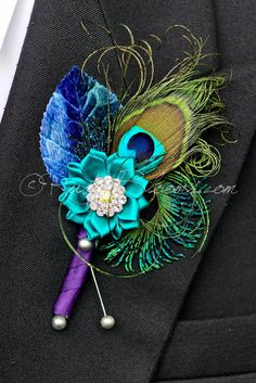 Peacock Feather Crystal Brooch Wedding Lapel Pin