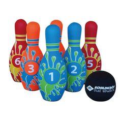 Supermooie bowlingset, volledig vervaardigd uit stevig neopreen dus werkelijk overal mee te spelen, binnenshuis, buiten, op het strand....waar je maar wilt.�  Cool design en kleuren, dat spreekt jong en oud aan en bowlen is altijd leuk. De eenvoudige spelregels maakt het spel ook toegankelijk voor jonge kinderen. Zet de kegels neer en rollen maar. Natuurlijk kun je zelf varieren in de regels, de gooi afstand en aantal rondes.�