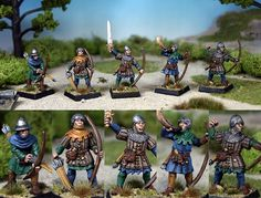 """Lead Painter's League. Another entry that caught my eye this week. They are painted by """"Blue in VT"""". They could almost be Bretonians for those that know the fictitious GW Warhammer Universe. As it is I think they are British peasant archers. Not sure who made the models themselves."""