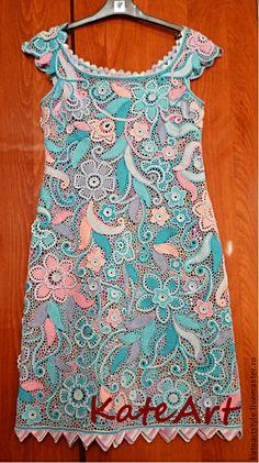 Платье вязаное в технике ирландского кружева Пастораль. Авторское платье связано крючком в технике ирландского кружева из итальянского хлопка.