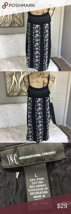 """•• I-N-C International Concepts Embroidered Dress Absolutely gorgeous dress! Just doesn't fit me anymore. Has been worn maybe twice. Item is great condition. Lots of stretch and very flattering on! Perfect for date night or a day on the town.  Measurements (Approx) Length: 27.5"""" Pit to Pit: 18""""  Material Makeup: 60% Pima Cotton 40% Modal (LLR1-0115) INC International Concepts Dresses Midi"""