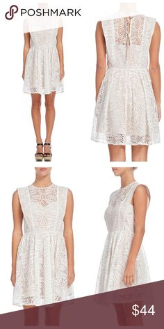 83eb0e18 Cream Lace Overlay Tie-Back Dress Cream lace dress with a gathered skirt, 3  ties in back. Flor Salinas