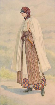 85 - Peasant Woman's Dress (Cyprus, Karpaci) 1930 lithograph on paper after original watercolour- Nicolas Sperling Greek Traditional Dress, Traditional Outfits, Gypsy Costume, Folk Costume, Greek Royalty, Costume Collection, Costume Shop, Empire Style, People Of The World