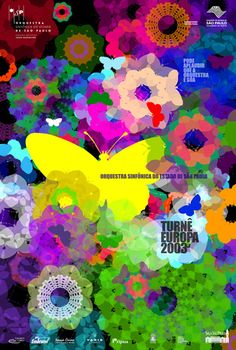Beautiful butterfly poster - built from layers of shape, color and size of multiple butterfly images, creating a truly amazing design!  This poster was created by Kiko Farkas, a Brazilian poster designer.