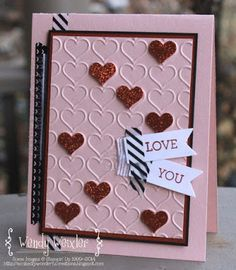Happy Hearts Textured Embossing Folder, Crazy About You stamp set, and Itty Bitty Accents Punch