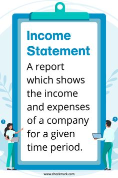 Income Statement: A Report Which Shows the income and expenses of a company for a given time period. Learn Accounting, Accounting Basics, Accounting Course, Accounting Principles, Accounting Student, Accounting Cycle, Online Bookkeeping, Small Business Bookkeeping, Bookkeeping And Accounting