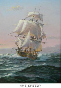 HMS SPEEDY | Artista Ian Hansen Marino. Costa, Ship In Bottle, Naval, Ship Paintings, Treasure Island, Wooden Boats, Tall Ships, Sailing Ships, Nautical