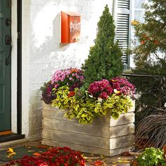 32 Pretty Curb Appeal Winter Garden Design Ideas That You Need To Know - There is a trend toward home buyers who are attracted to year-round, outdoor visual flair. Whether you are staging your home for potential buyers, or . Winter Container Gardening, Garden Container, Mailbox Garden, Red Mailbox, Mailbox Landscaping, Purple Mums, Wooden Planters, Porch Planter, Fall Planters