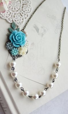Turquoise Blue Rose, Grey Blue, Aqua Blue, Ivory, Leaf, Pearl, Collage Flower Necklace. Turquoise Blue Wedding. Bridesmaid Gift. Something Blue by Marolsha - https://www.etsy.com/listing/198406801/turquoise-blue-rose-grey-blue-aqua-blue?ref=shop_home_active_9&ga_search_query=blue%2Brose%2Bnecklace
