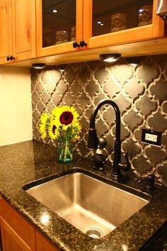 Backsplash https://store.missionstonetile.com/Beveled-Arabesque-Tile-Up-In-Smoke-p/arabesque-smoke.htm