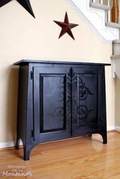 Love the black on black look, tutorial at http://momentswiththemontanos.blogspot.com/2012/02/diy-damask-cabinet.html