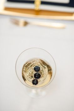 champagne with blueberries... gold and navy,   #sparklingeverafter