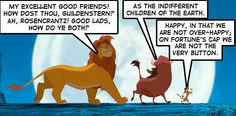 """Seriously, read that scene in Hamlet and tell me it's not those two trying to convince him """"hakuna matata."""""""