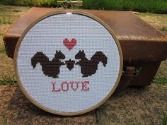 squirrelly love crossstitch kit includes pattern by ChezSucreChez, $14.00