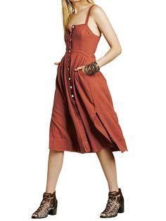 69e9c299c6977 CA Mode Women Button Up Suspender Dress Cocktail Party Midi Dresses Side  Slits at Amazon Women s