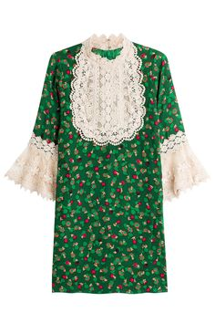 Anna Sui - Printed Silk Dress with Lace