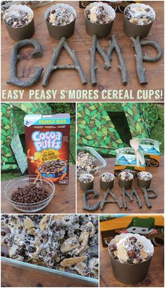 Easy-Peasy S'mores Cereal Cups: a fun backyard campout recipe that kids will love making and eating! Camping Crafts, Camping Meals, Kids Meals, Honey Nut Cheerios, Camping Parties, Backyard Camping, S'mores Bar, Cereal Recipes, Party Ideas