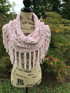 c64f9a1df42aa Items similar to Boho fringe cowl, boho scarf, fringe scarf,pink scarf,  velvet scarf, trendy accessory , teen gift, handmade scarf on Etsy