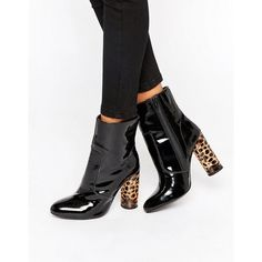 Office Animal Sock Heeled Ankle Boots ($135) ❤ liked on Polyvore featuring shoes, boots, ankle booties, black, leather booties, black leather booties, high heel booties, leather boots and high heel ankle boots