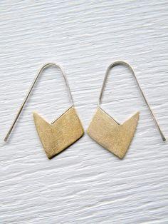 Little Brass Geometric Earrings