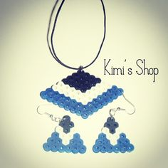 Earrings and necklace perler bead set by kimis.shop