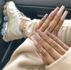 24 Latest Acrylic Coffin Nails Art Ideas In Fall - Nail Trends Are Changing For . - 24 Latest acrylic coffin nails art ideas in autumn – nail trends change forever and new seasons b - Aycrlic Nails, Cute Nails, Pretty Nails, Glitter Nails, Manicures, Gold Glitter, Acrylic Nails Kylie Jenner, Kylie Jenner Nails, Pretty Shoes