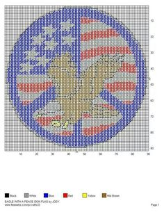 EAGLE WITH A PEACE SIGN FLAG by JODY - PATRIOTIC WALL HANGING