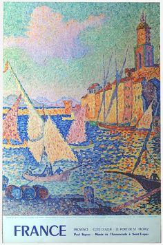 ✨  Paul Signac (*1899-?) - Provence, Côte d'Azur, Le Port de Saint-Tropez,  1950's,