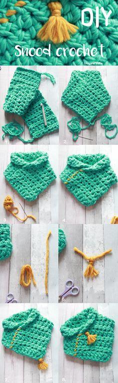 DIY crochet. Snood au crochet en laine mérinos. Tutoriel crochet / DIY crochet snood with merinos wool, Crochet tutorial