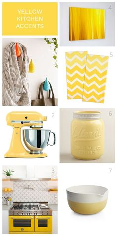 Yellow kitchen accents for your modern coastal home. Add personality to your white and soft gray kitchen with accessories that are easy to change.