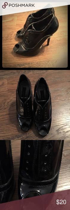 Patent Leather Open Toe Booties Super cute. Missing laces and lots of wear and tear pictured. Still has life left in these. Not real leather. Steven by Steve Madden Shoes Ankle Boots & Booties