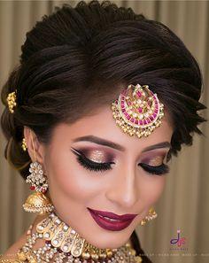 67 Ideas Wedding Hairstyles Natural Make Up For 2019 Bridal Hairstyle Indian Wedding, Pakistani Bridal Makeup, Asian Bridal Makeup, Indian Wedding Makeup, Bridal Hairdo, Indian Bridal Hairstyles, Bridal Makeup Looks, Bride Makeup, Indian Eye Makeup